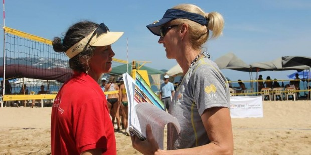 Denise at the World Under 17 Championships discussing the match with Olympic double medallist and mentor Kerri Pottharst